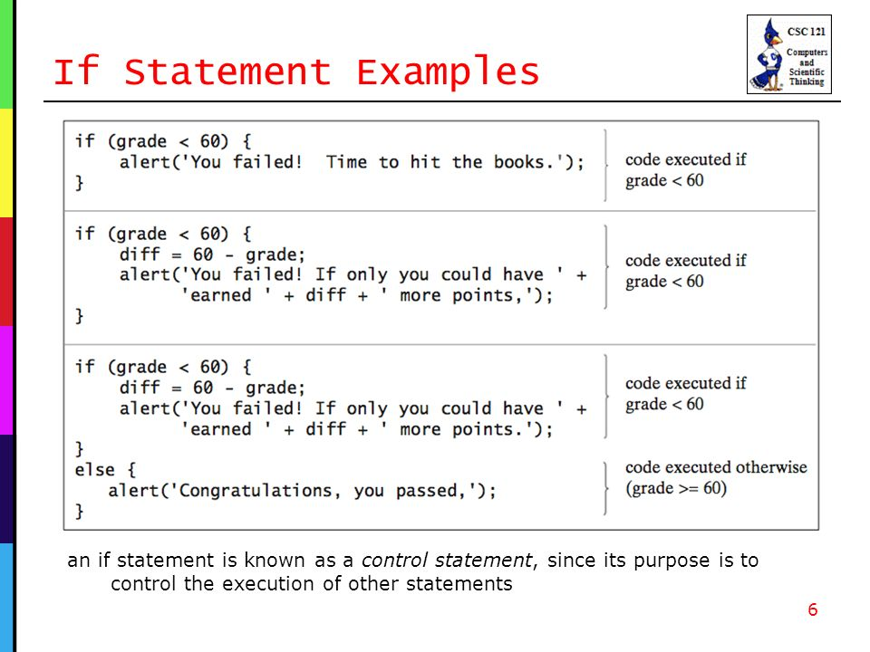 If Statement Examples 6 an if statement is known as a control statement, since its purpose is to control the execution of other statements