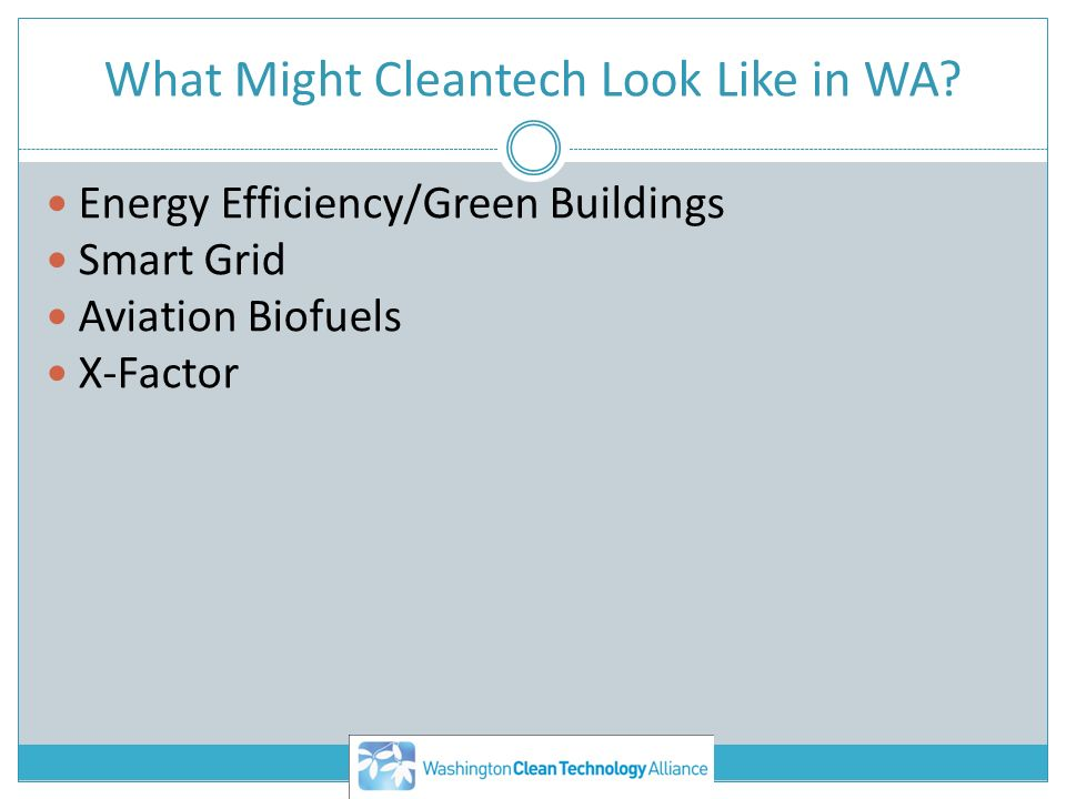 What Might Cleantech Look Like in WA? Energy Efficiency/Green Buildings Smart Grid Aviation Biofuels X-Factor