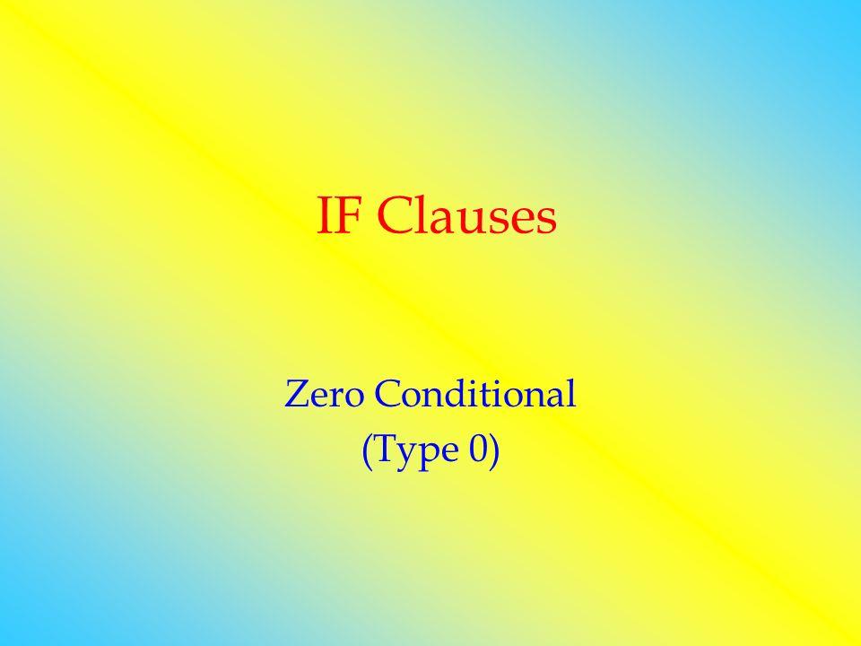 IF Clauses Zero Conditional (Type 0)