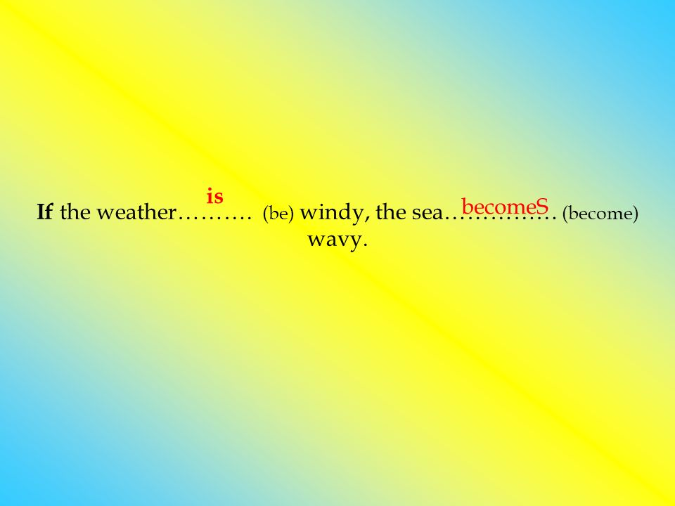 If the weather………. (be) windy, the sea…………… (become) wavy. is becomeS