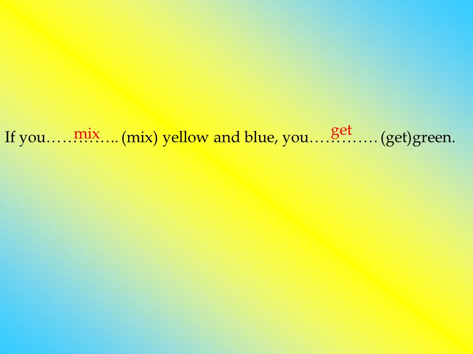 If you………….. (mix) yellow and blue, you…………. (get)green. mix get