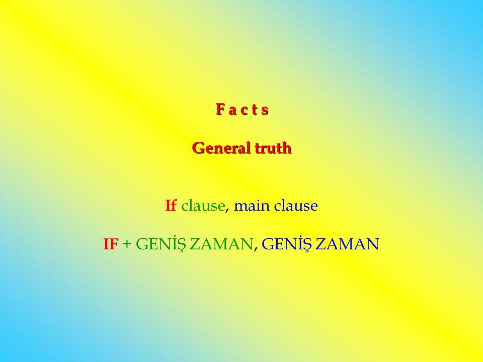F a c t s General truth If clause, main clause IF + GENİŞ ZAMAN, GENİŞ ZAMAN