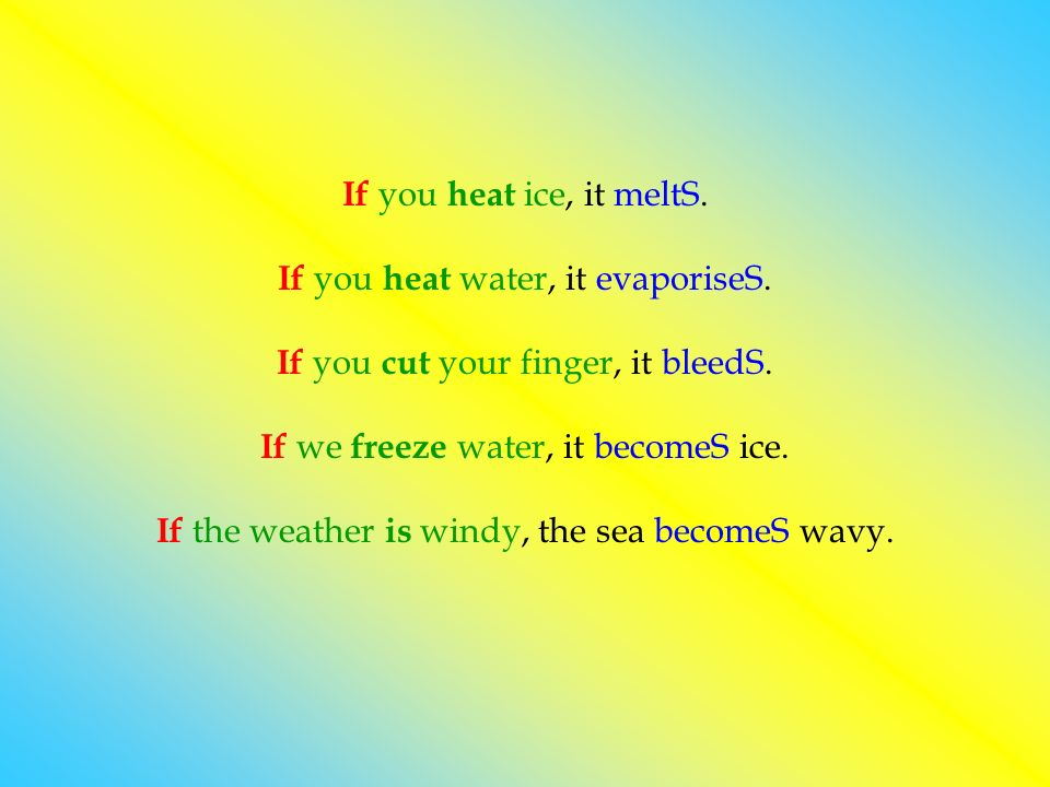 If you h eat ice, it meltS. If you h eat water, it evaporiseS. If you c ut your finger, it bleedS. If we f reeze water, it becomeS ice. If the weather