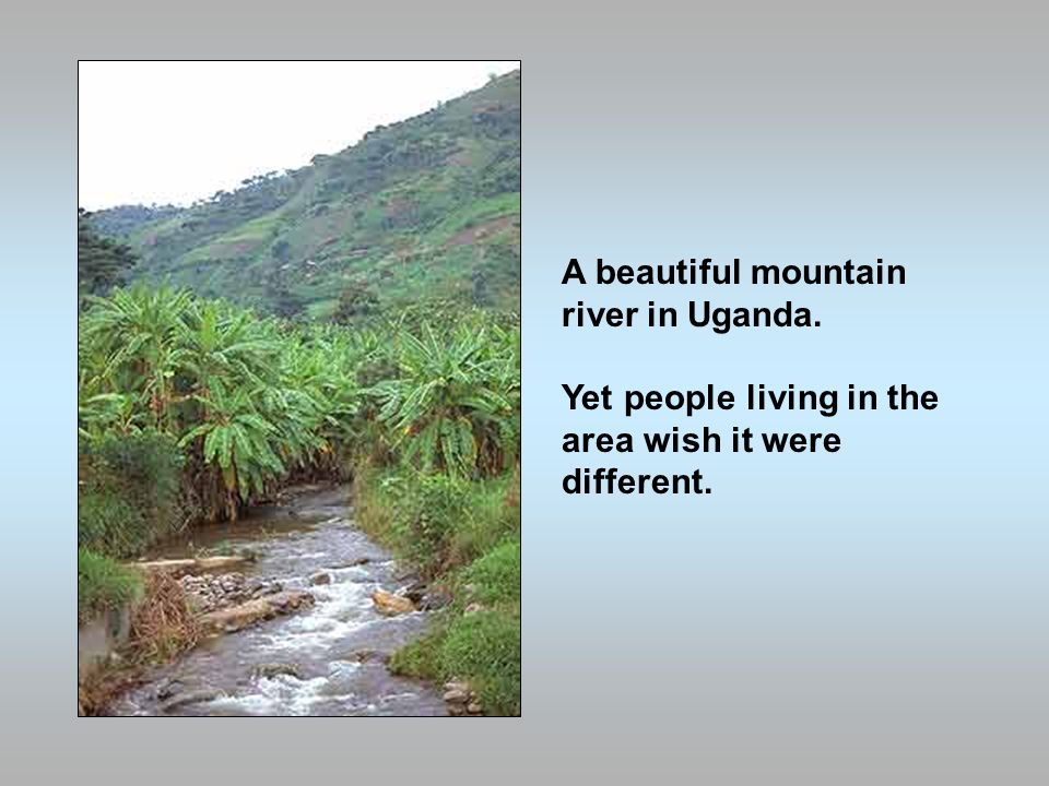A beautiful mountain river in Uganda. Yet people living in the area wish it were different.