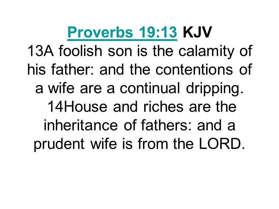 The Adam Clarke Commentary Verse 13.The contentions of a wife are a continual dropping.