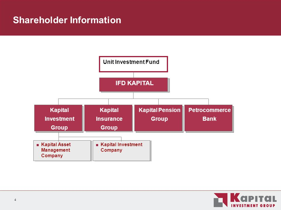 4 Shareholder Information Kapital Asset Management Company Kapital Investment Group Kapital Pension Group Kapital Insurance Group IFD KAPITAL Petrocommerce Bank Kapital Investment Company Unit Investment Fund