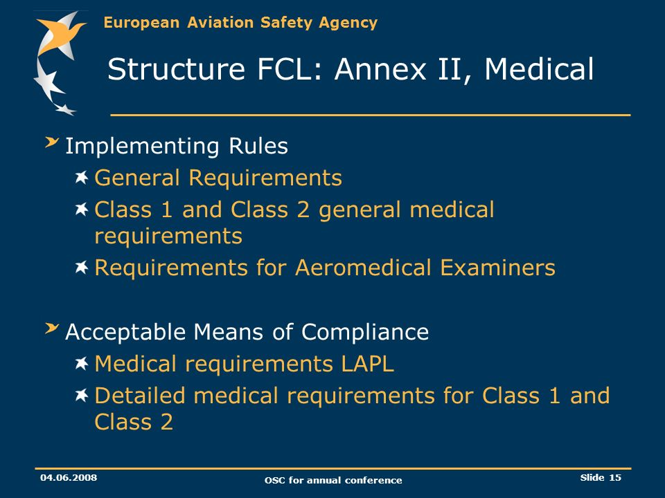 European Aviation Safety Agency OSC for annual conference Slide 15 Structure FCL: Annex II, Medical Implementing Rules General Requirements Class 1 and Class 2 general medical requirements Requirements for Aeromedical Examiners Acceptable Means of Compliance Medical requirements LAPL Detailed medical requirements for Class 1 and Class 2