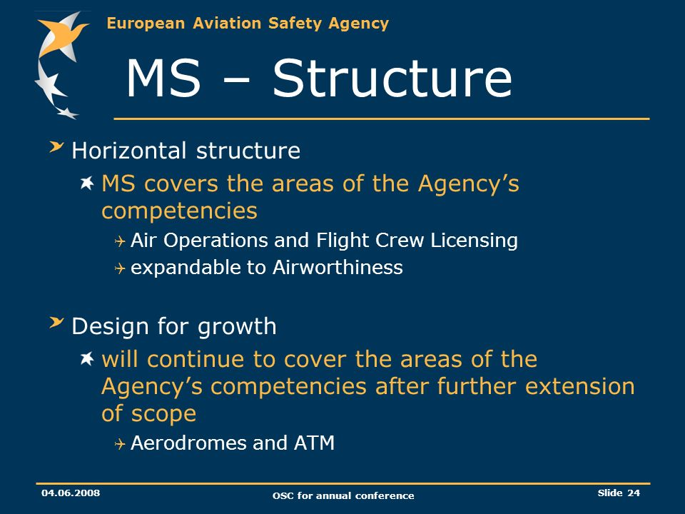 European Aviation Safety Agency OSC for annual conference Slide 24 Horizontal structure MS covers the areas of the Agencys competencies Air Operations and Flight Crew Licensing expandable to Airworthiness Design for growth will continue to cover the areas of the Agencys competencies after further extension of scope Aerodromes and ATM MS – Structure