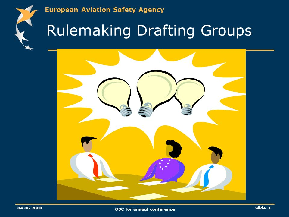 European Aviation Safety Agency 04.06.2008 OSC for annual conference Slide 3 Rulemaking Drafting Groups