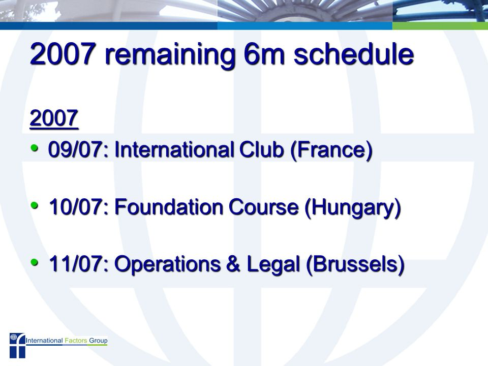 2007 remaining 6m schedule 2007 09/07: International Club (France) 09/07: International Club (France) 10/07: Foundation Course (Hungary) 10/07: Foundation Course (Hungary) 11/07: Operations & Legal (Brussels) 11/07: Operations & Legal (Brussels)