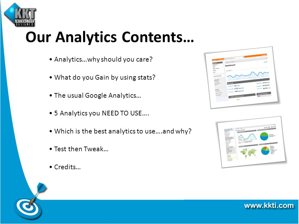 Our Analytics Contents… Analytics…why should you care.