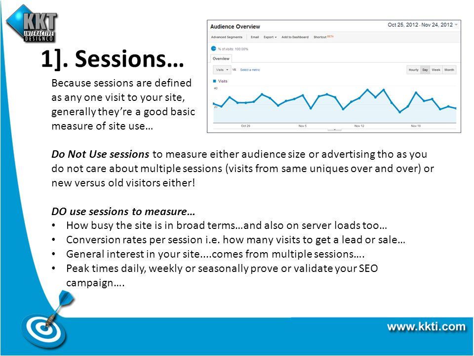 1]. Sessions… Because sessions are defined as any one visit to your site, generally theyre a good basic measure of site use… Do Not Use sessions to me