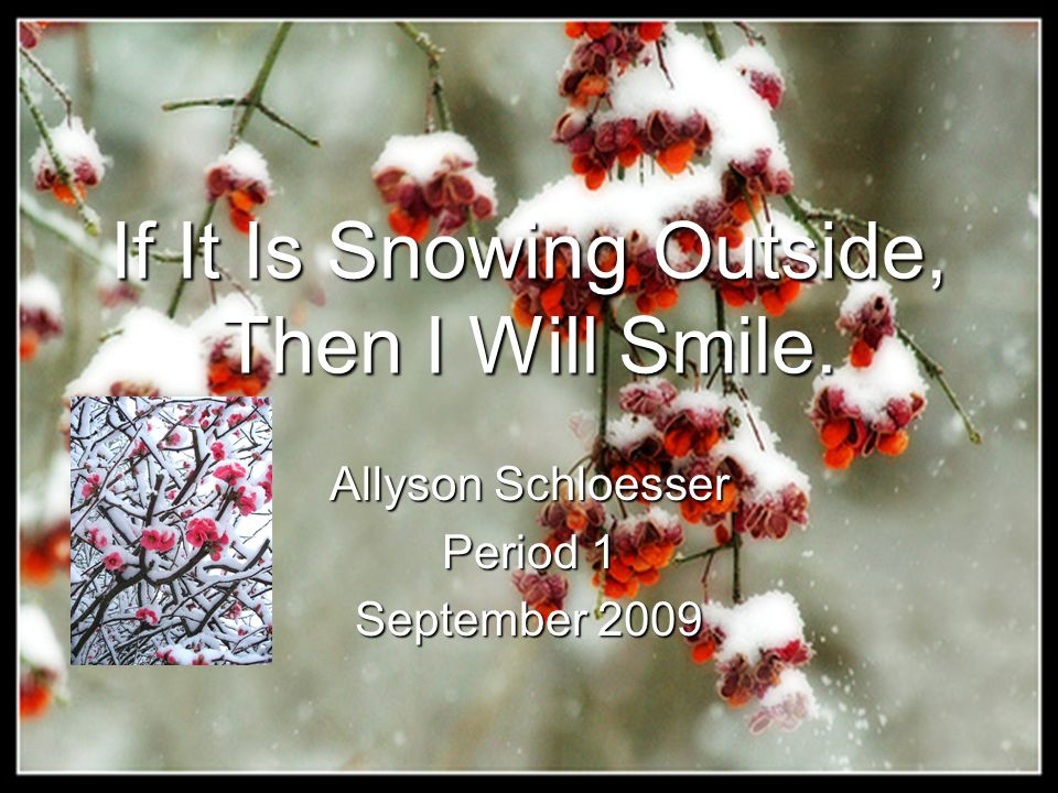 If It Is Snowing Outside, Then I Will Smile. Allyson Schloesser Period 1 September 2009