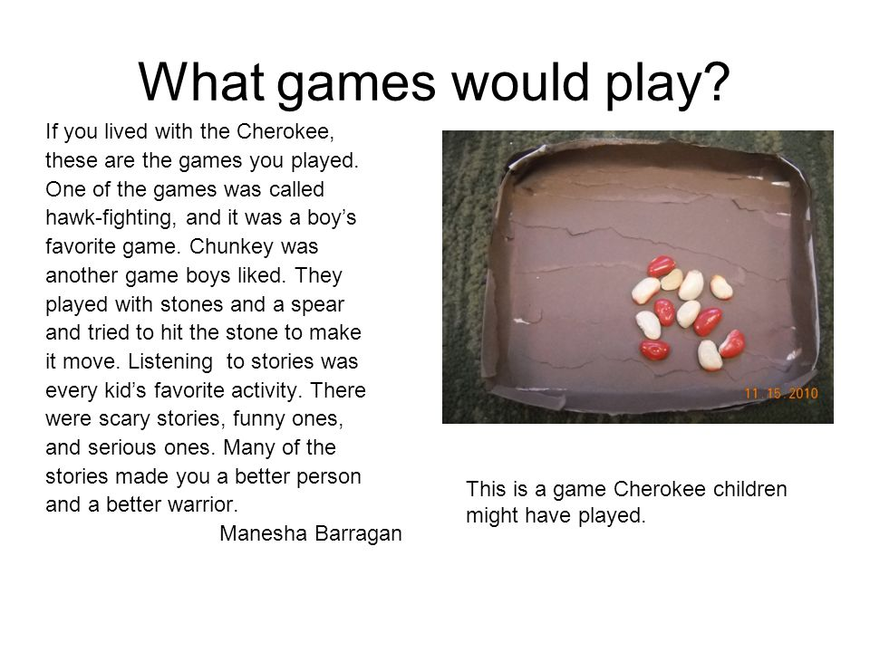 What games would play? If you lived with the Cherokee, these are the games you played. One of the games was called hawk-fighting, and it was a boys fa