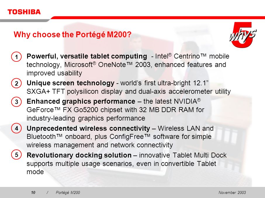 November 20039/Portégé M200 The Portégé M200 concept Tablet mode Dual LCD mode Desktop PC mode Notebook mode Memo pad mode Next slide