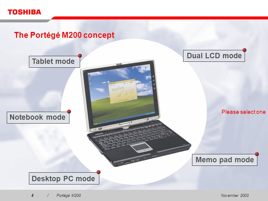 November 20033/Portégé M200 Marketing objectives To position Toshiba as a mobile technology leader in the ultra-portable wireless tablet computing market To target all corporate executives, traveling professionals, early adopters, technical enthusiasts, consumers and vertical market segment needs To combine the power and functionality of a high-end notebook with the versatility and convenience of pen- based computing To deliver groundbreaking mobile and wireless performance, exceptional graphics and an innovative docking solution.