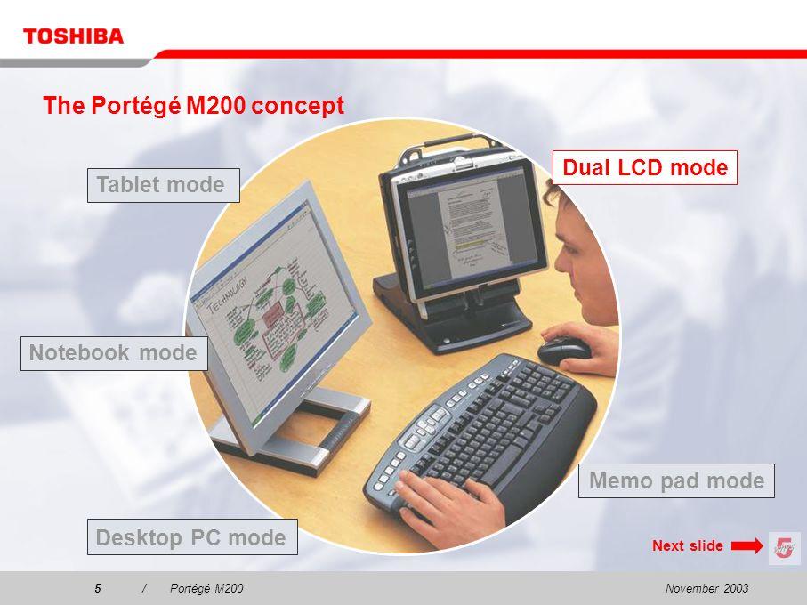 November 20034/Portégé M200 Tablet mode Dual LCD mode Desktop PC mode The Portégé M200 concept Notebook mode Memo pad mode Please select one