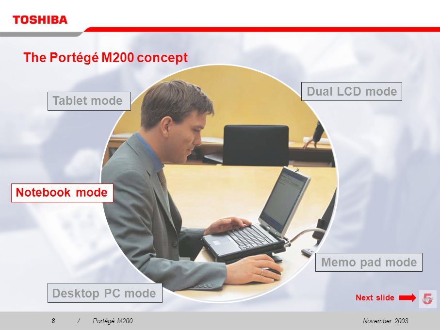 November 20037/Portégé M200 The Portégé M200 concept Tablet mode Dual LCD mode Desktop PC mode Notebook mode Memo pad mode Next slide