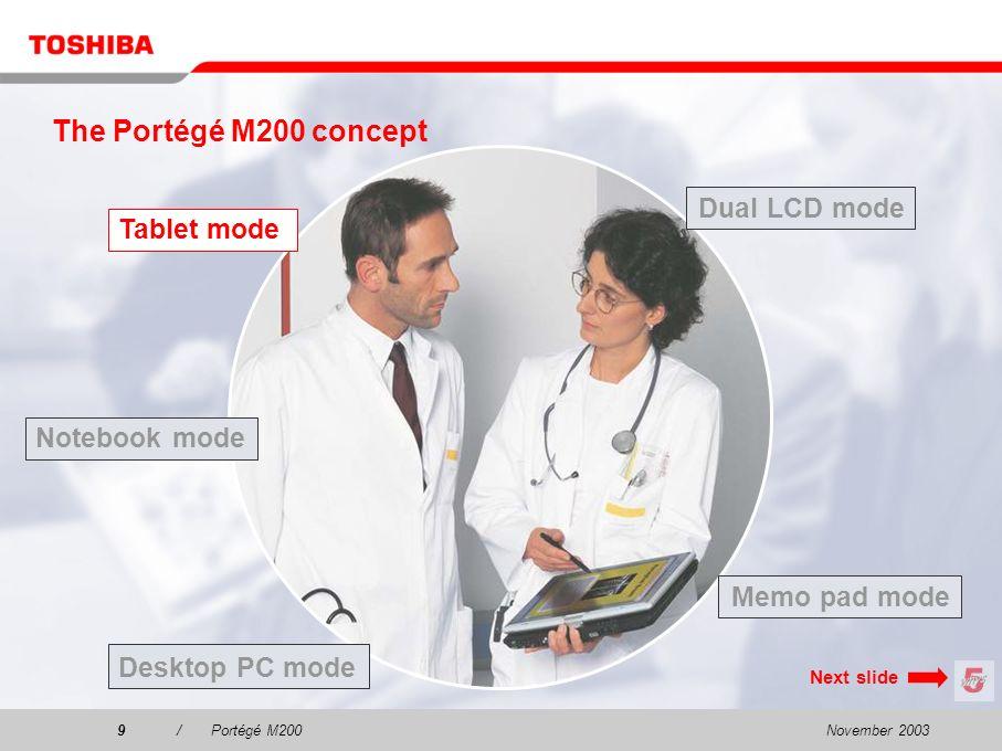 November 20038/Portégé M200 The Portégé M200 concept Tablet mode Dual LCD mode Desktop PC mode Notebook mode Memo pad mode Next slide