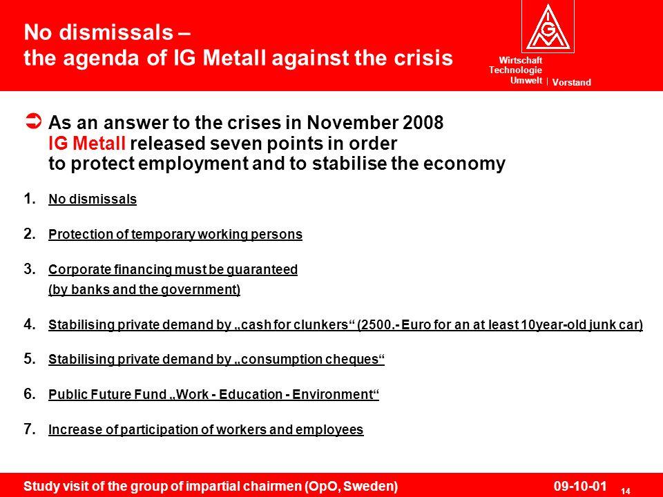 Wirtschaft Technologie Umwelt Vorstand 14 Study visit of the group of impartial chairmen (OpO, Sweden)09-10-01 No dismissals – the agenda of IG Metall