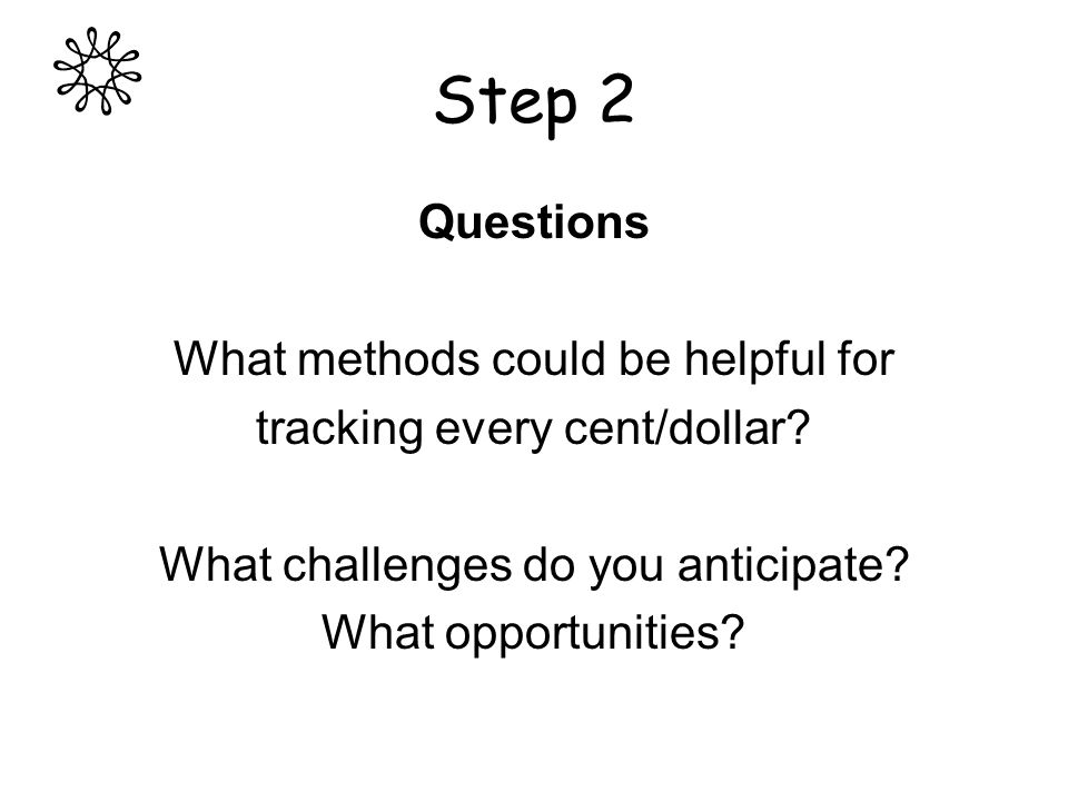 Step 2 Questions What methods could be helpful for tracking every cent/dollar.