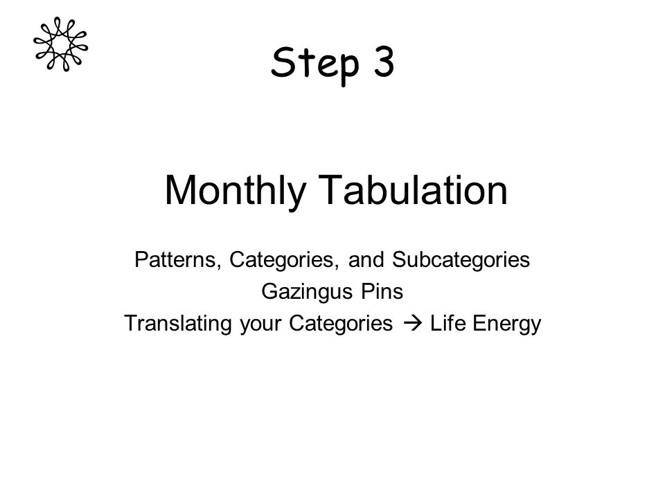 Step 3 Monthly Tabulation Patterns, Categories, and Subcategories Gazingus Pins Translating your Categories Life Energy