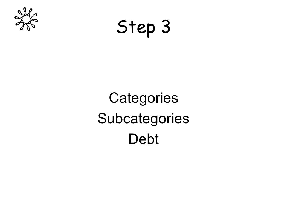 Step 3 Categories Subcategories Debt