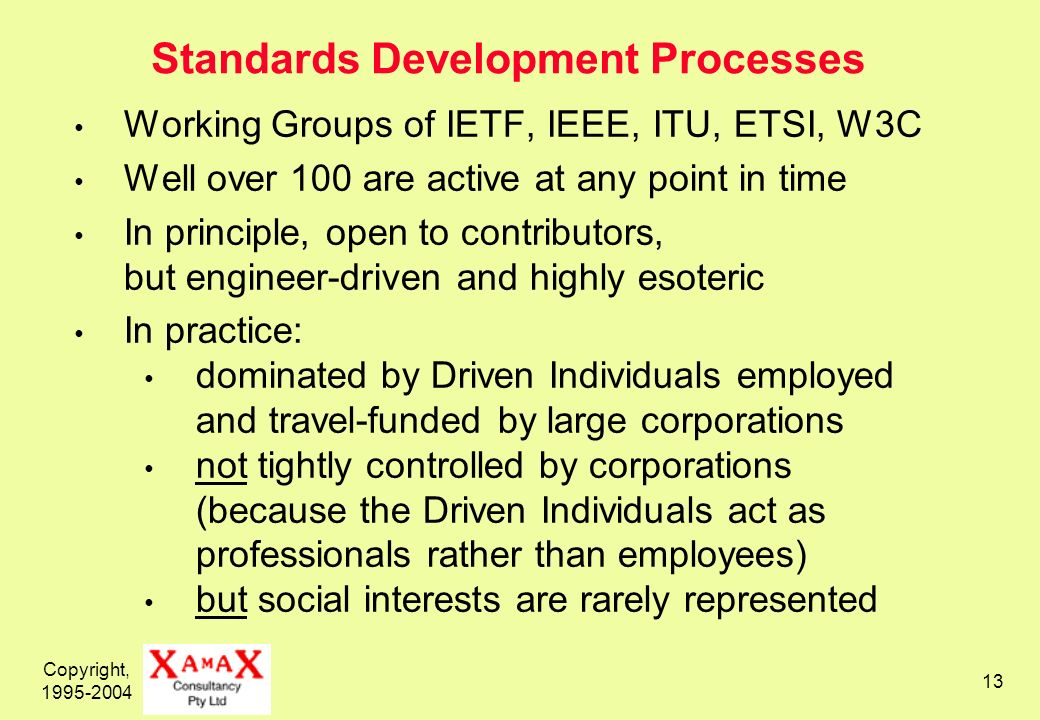 Copyright, 1995-2004 13 Standards Development Processes Working Groups of IETF, IEEE, ITU, ETSI, W3C Well over 100 are active at any point in time In