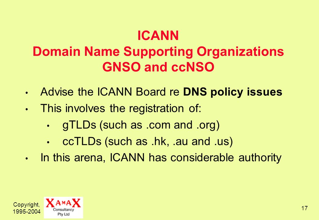 Copyright, ICANN Domain Name Supporting Organizations GNSO and ccNSO Advise the ICANN Board re DNS policy issues This involves the registration of: gTLDs (such as.com and.org) ccTLDs (such as.hk,.au and.us) In this arena, ICANN has considerable authority