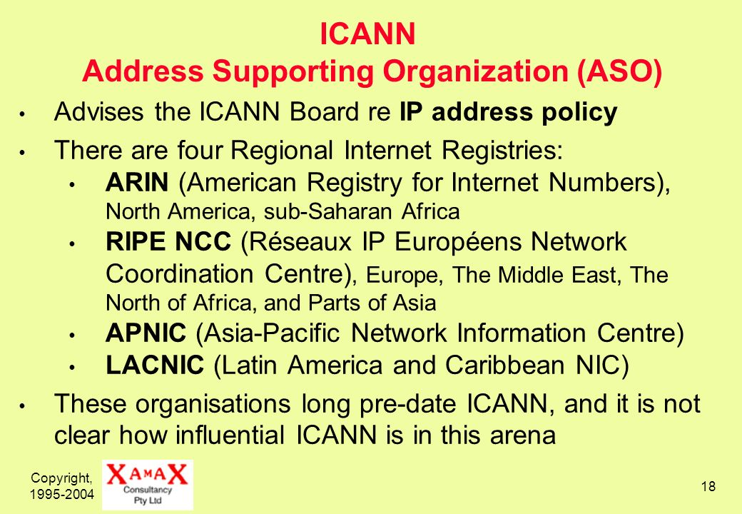 Copyright, 1995-2004 18 ICANN Address Supporting Organization (ASO) Advises the ICANN Board re IP address policy There are four Regional Internet Regi