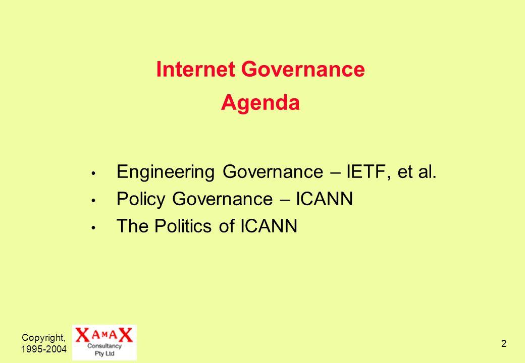 Copyright, 1995-2004 2 Internet Governance Agenda Engineering Governance – IETF, et al.