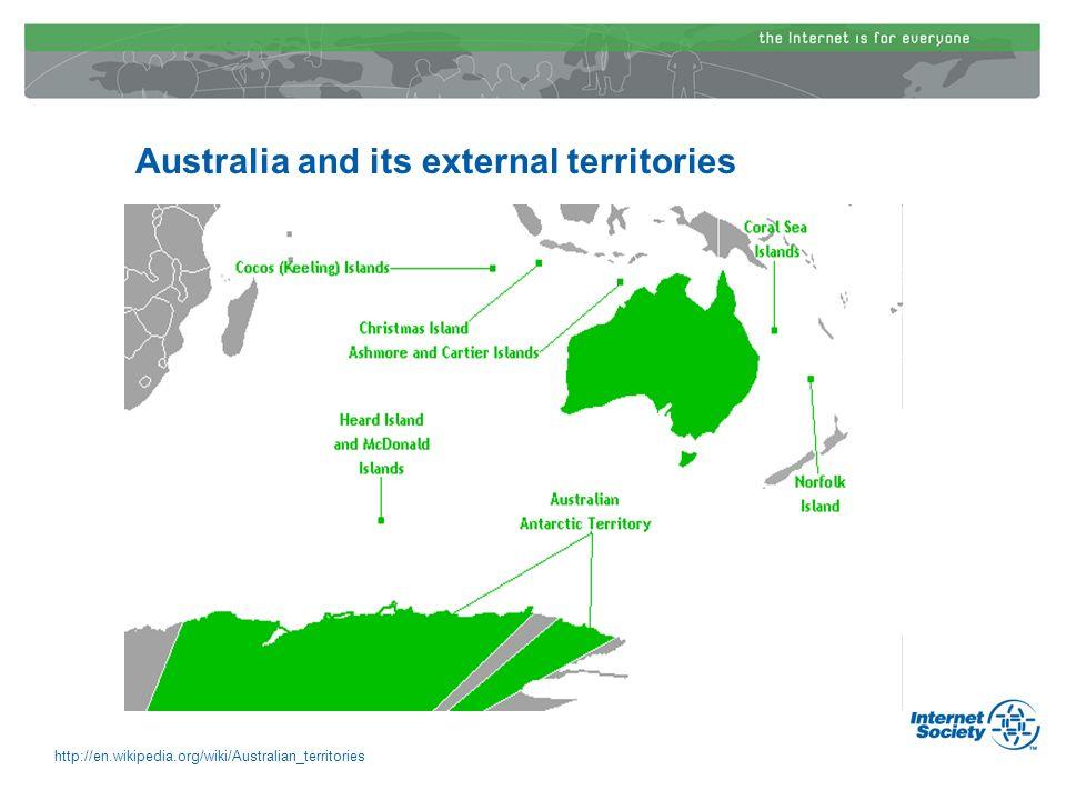 Australia and its external territories http://en.wikipedia.org/wiki/Australian_territories