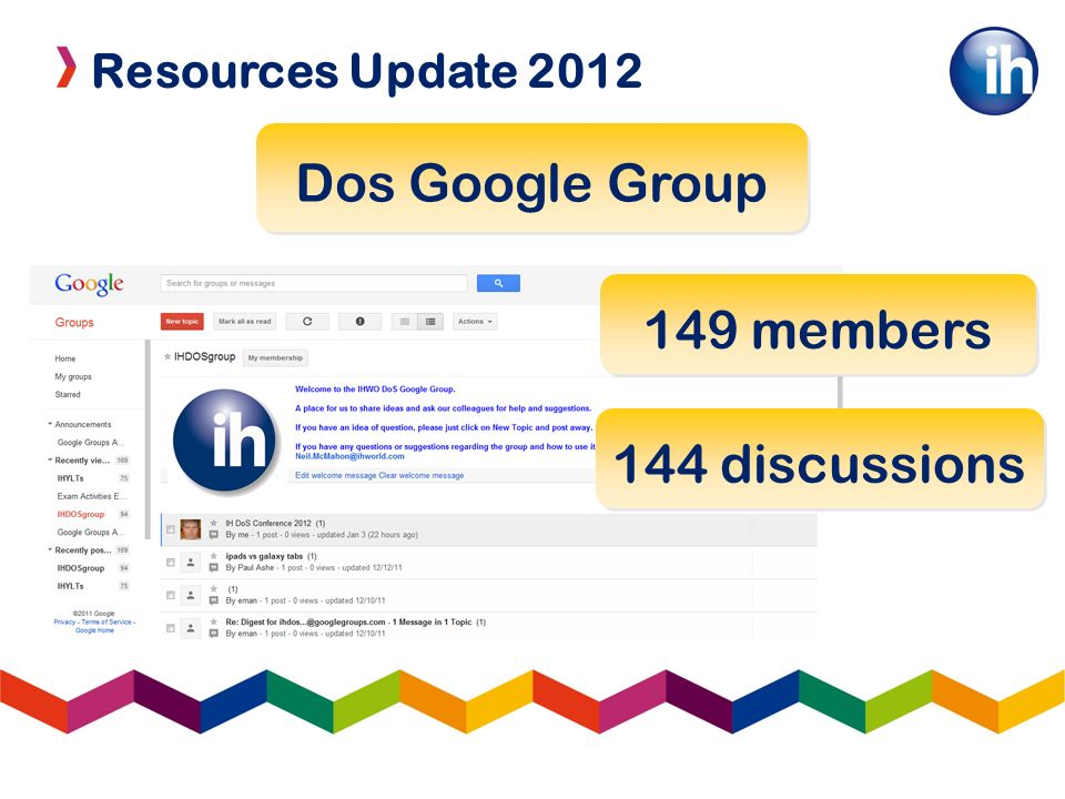 Resources Update 2012 Dos Google Group 149 members 144 discussions