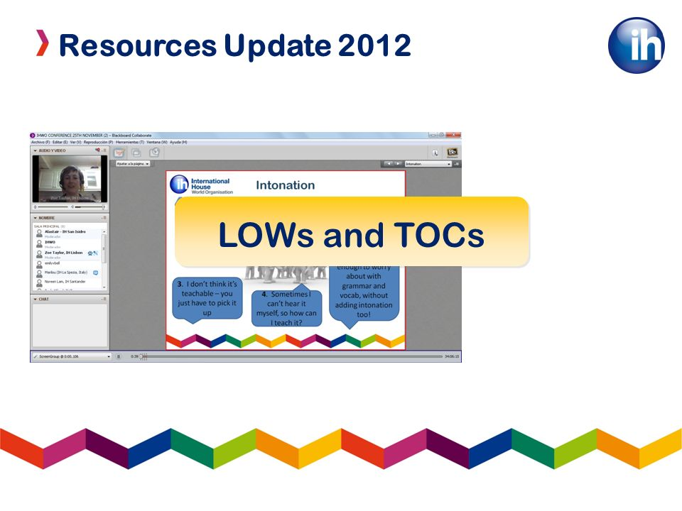 Resources Update 2012 LOWs and TOCs