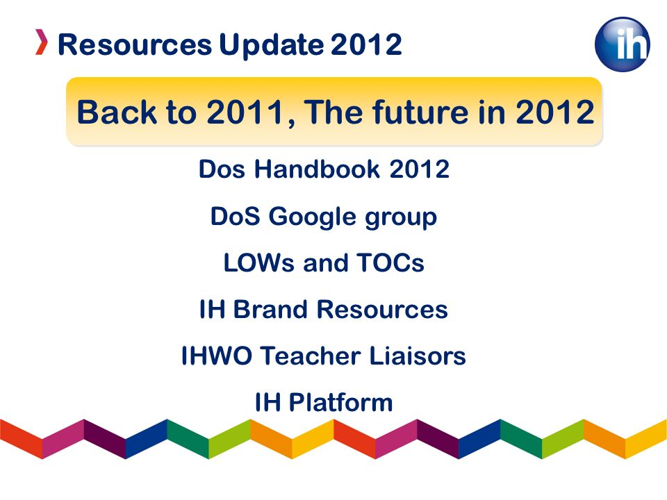Resources Update 2012 IHWO Teacher Liaisors To improve coordination and collaboration between schools To improve and encourage use of IH Platform and to inspire teachers to share materials and ideas beyond their face2face staffrooms.