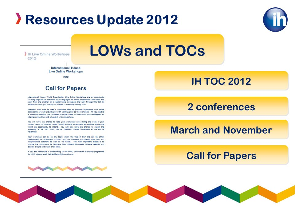 Resources Update 2012 LOWs and TOCs IH TOC 2012 2 conferences March and November Call for Papers