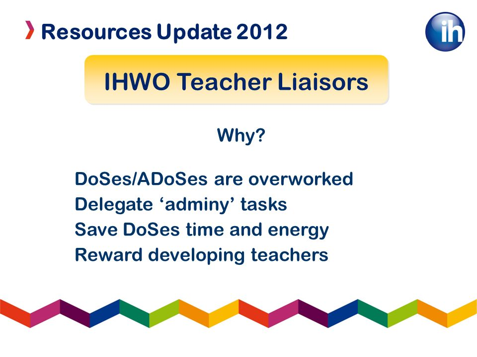 Resources Update 2012 IHWO Teacher Liaisors Why? DoSes/ADoSes are overworked Delegate adminy tasks Save DoSes time and energy Reward developing teache