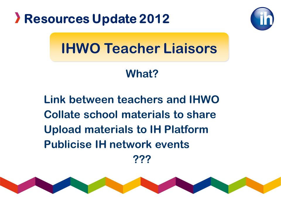 Resources Update 2012 IHWO Teacher Liaisors What? Link between teachers and IHWO Collate school materials to share Upload materials to IH Platform Pub
