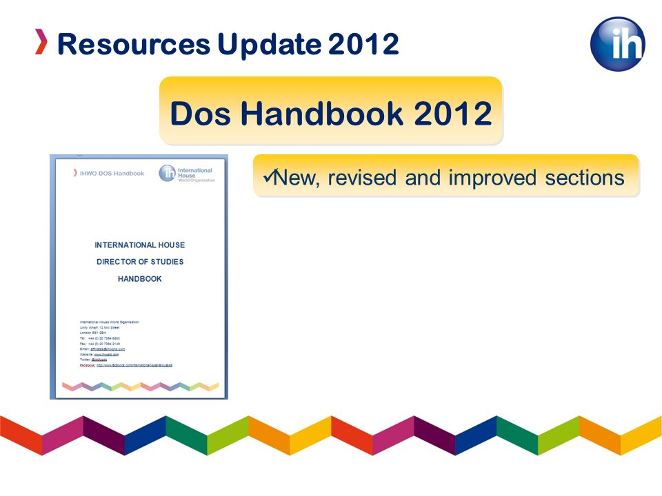 Resources Update 2012 Dos Handbook 2012 New, revised and improved sections