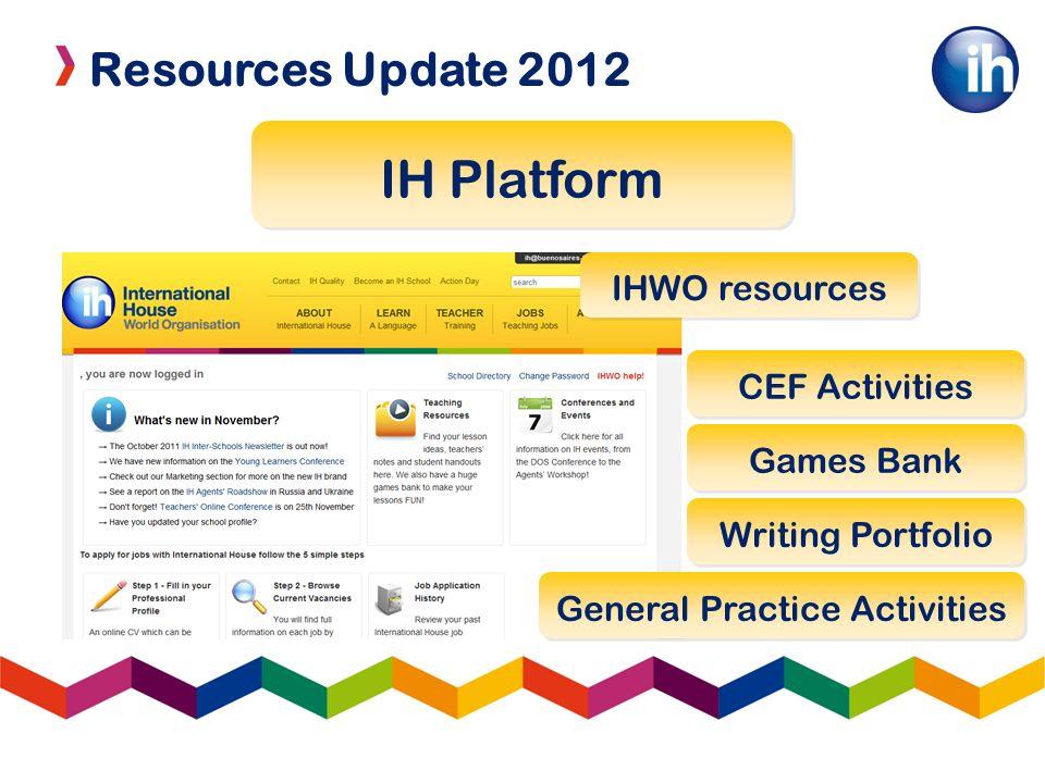 Resources Update 2012 IH Platform IHWO resources CEF Activities Games Bank Writing Portfolio General Practice Activities