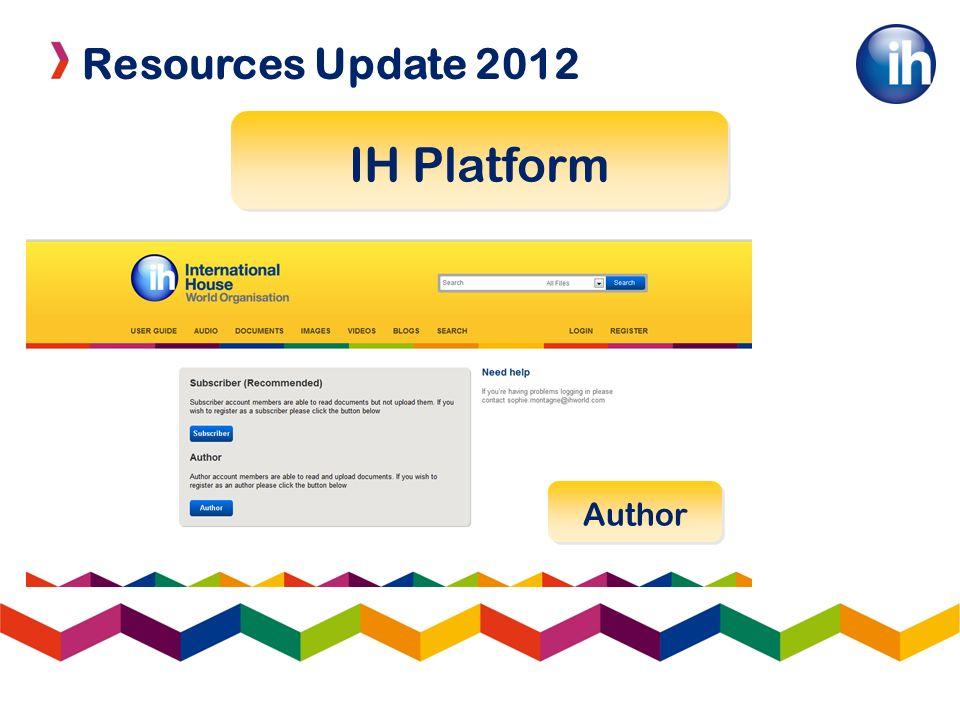 Resources Update 2012 IH Platform Author