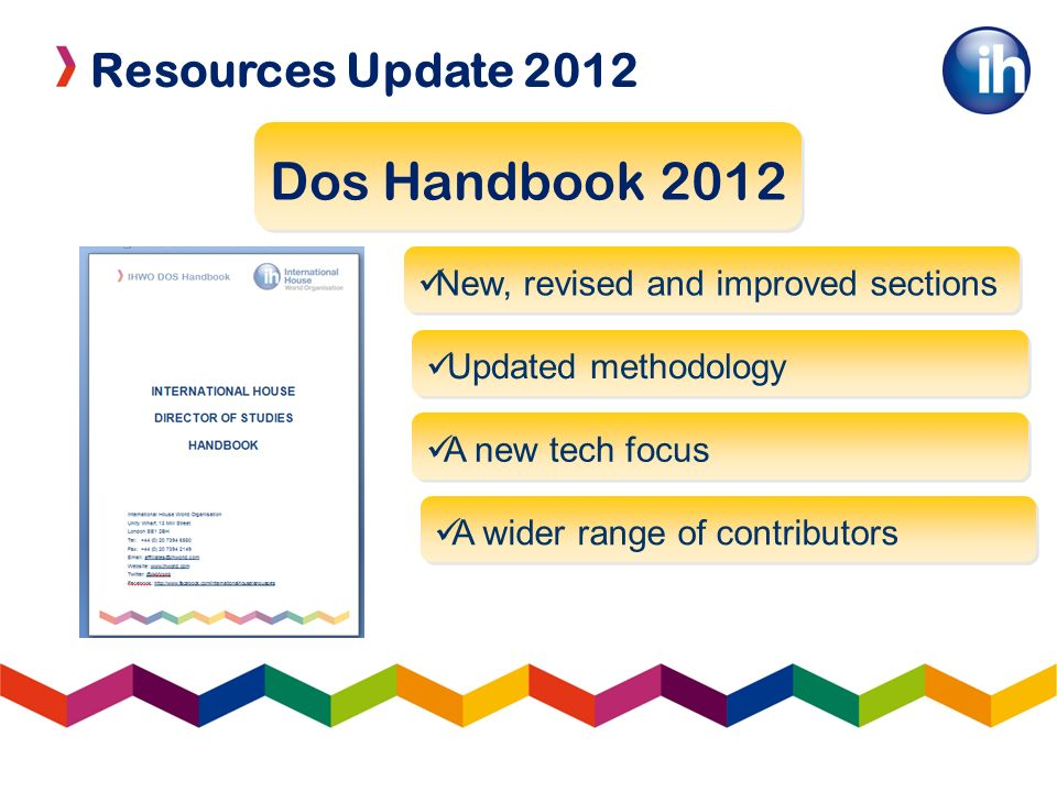 Resources Update 2012 LOWs and TOCs IH TOC – 25/11/11 11 sessions by IH teachers