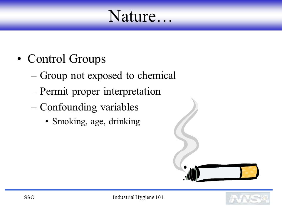 SSOIndustrial Hygiene 101 Nature… Control Groups –Group not exposed to chemical –Permit proper interpretation –Confounding variables Smoking, age, drinking