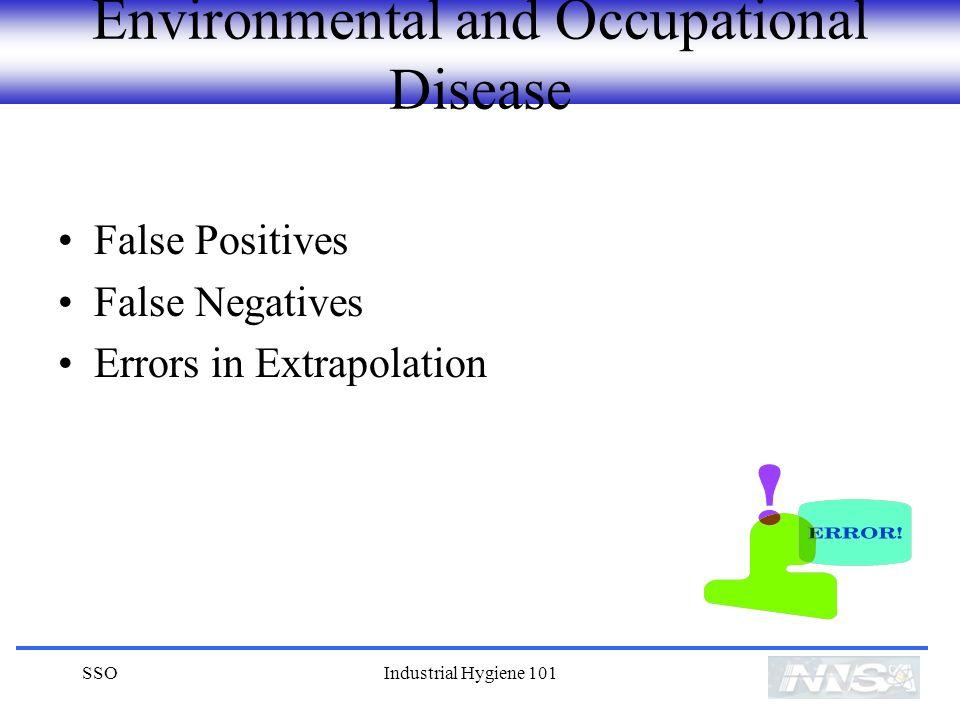 SSOIndustrial Hygiene 101 Environmental and Occupational Disease False Positives False Negatives Errors in Extrapolation