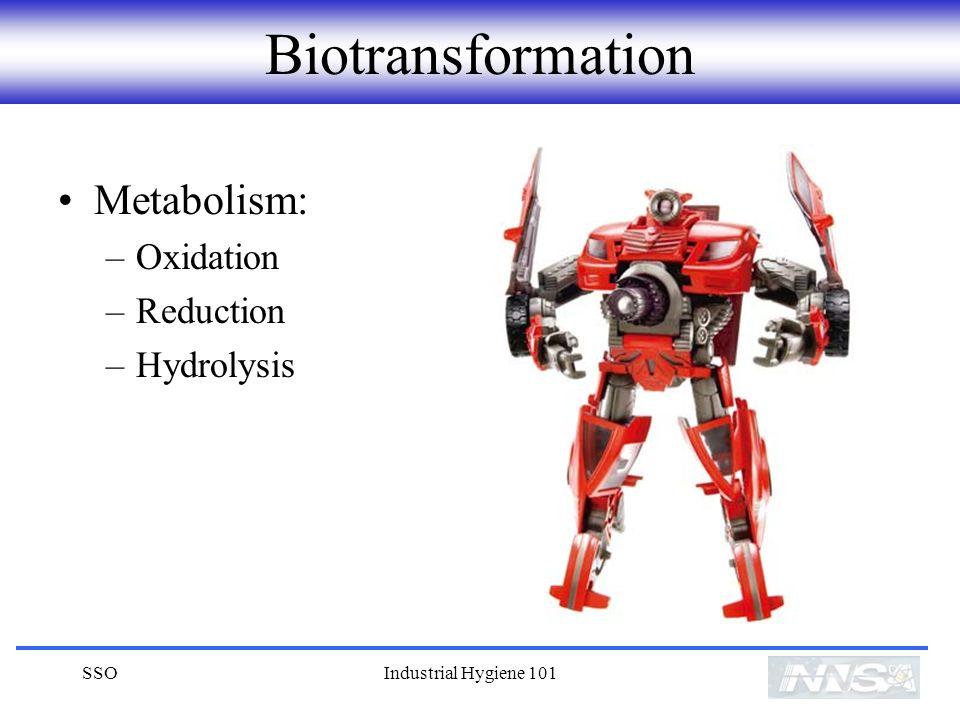 SSOIndustrial Hygiene 101 Biotransformation Metabolism: –Oxidation –Reduction –Hydrolysis