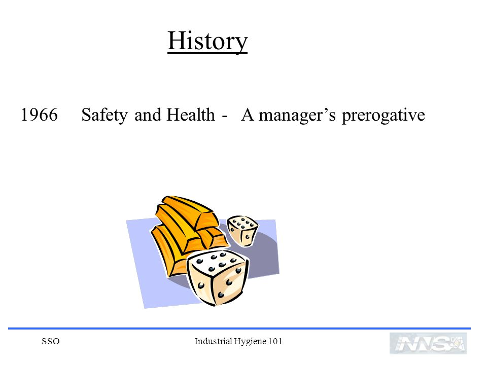 SSOIndustrial Hygiene 101 History 1966 Safety and Health - A managers prerogative