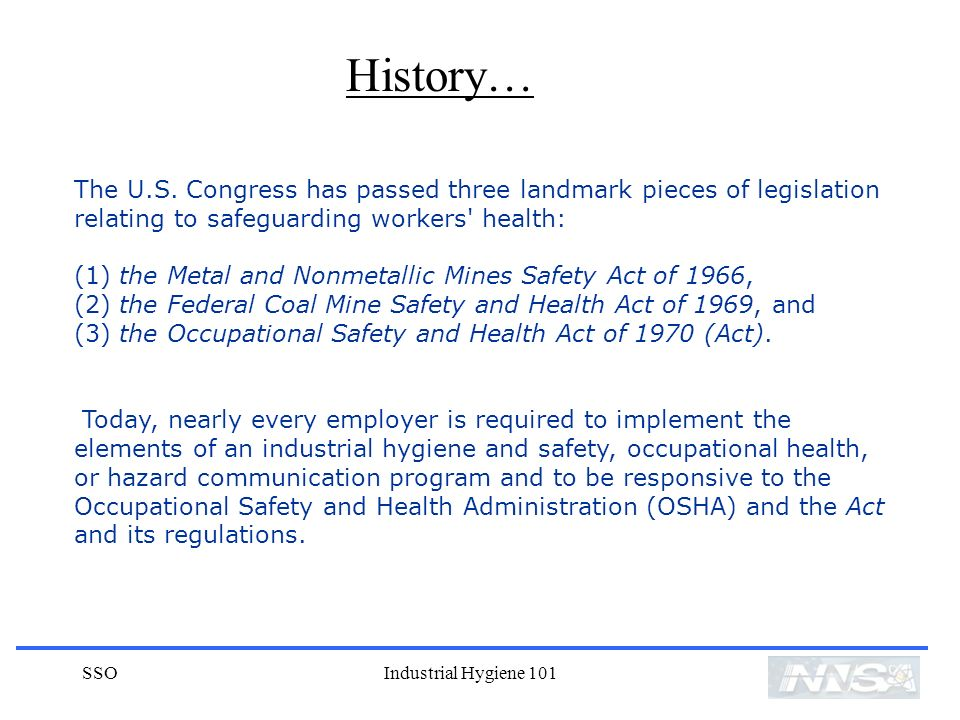 SSOIndustrial Hygiene 101 The U.S.