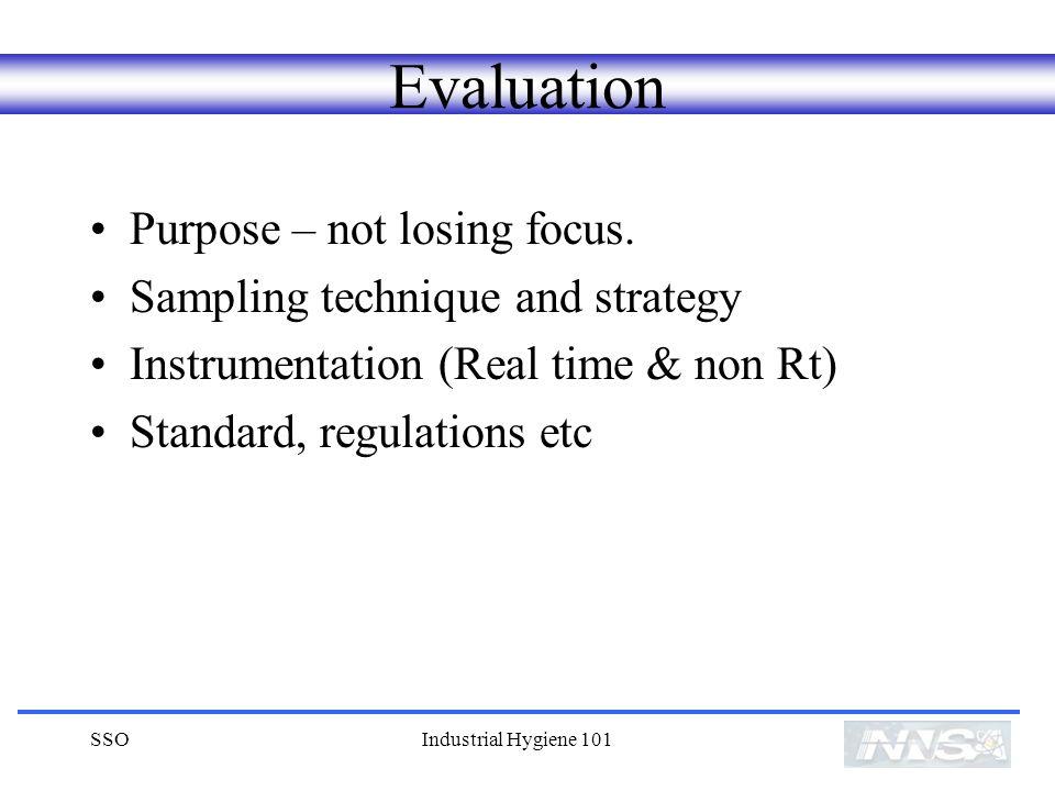 SSOIndustrial Hygiene 101 Evaluation Purpose – not losing focus.