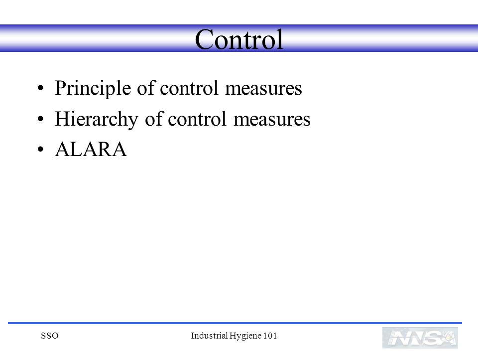 SSOIndustrial Hygiene 101 Control Principle of control measures Hierarchy of control measures ALARA