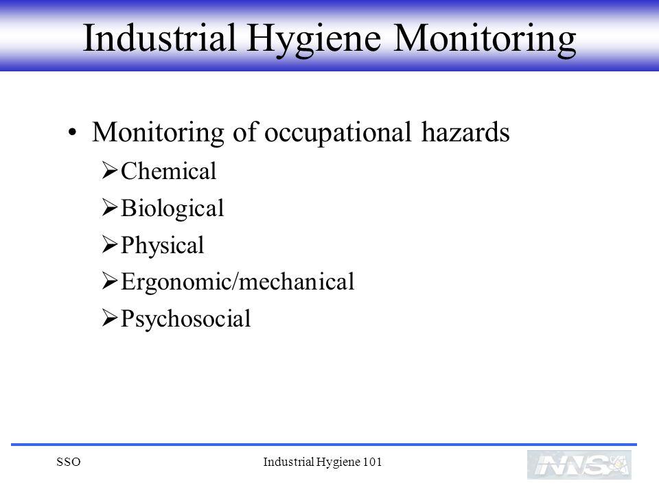 SSOIndustrial Hygiene 101 Industrial Hygiene Monitoring Monitoring of occupational hazards Chemical Biological Physical Ergonomic/mechanical Psychosocial